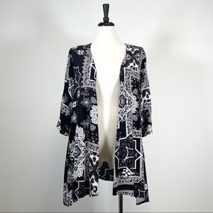 Soma Floral Open Cardigan Duster 3/4 Sleeves